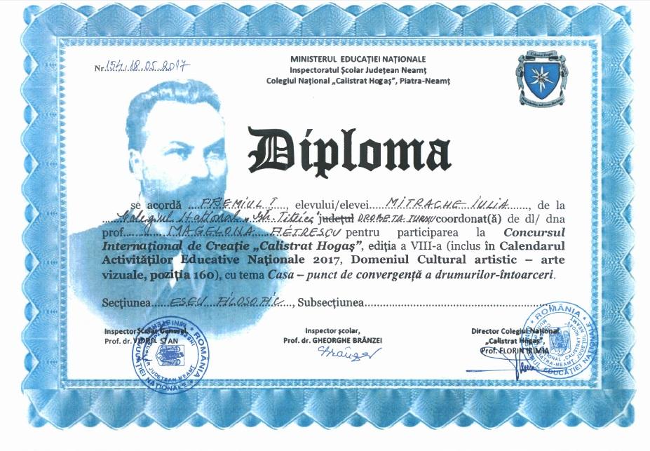 Diploma Concursul International de Creatie Calistrat Hogas Premiul I Eseu Filosofic