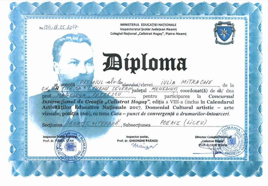 Diploma Concursul International de Creatie Calistrat Hogas Premiul II Poezie