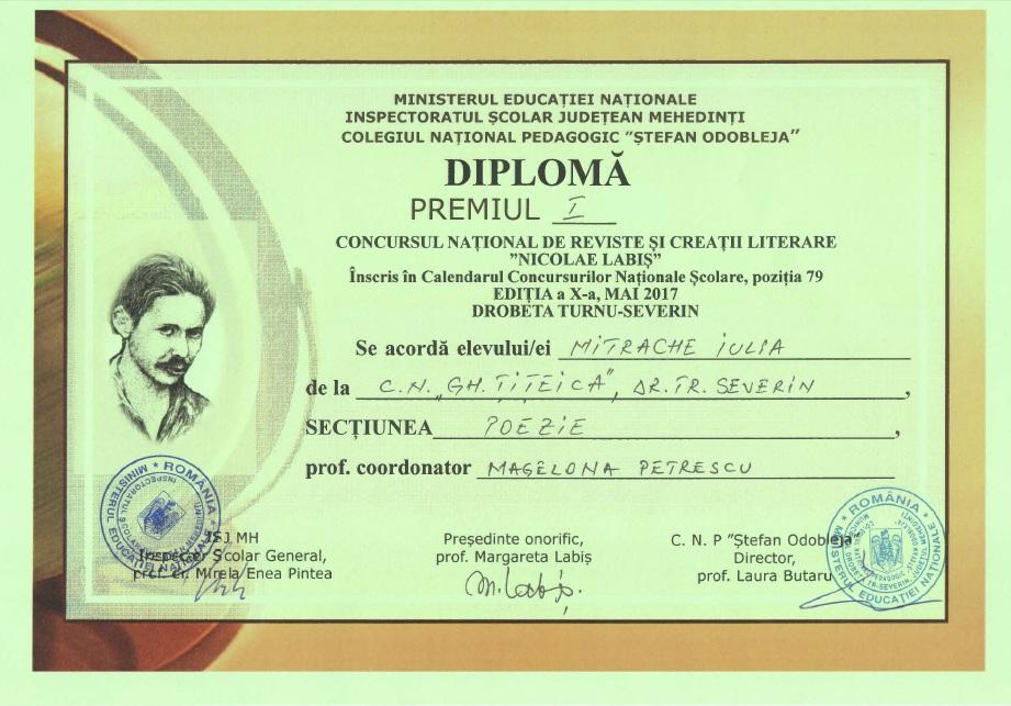 Diploma Concursul National de Reviste si Creatii Literare Nicolae Labis Premiul I Poezie