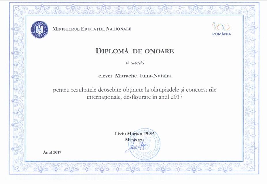 Diploma Guvern Olimpiada Internationala de Lectura