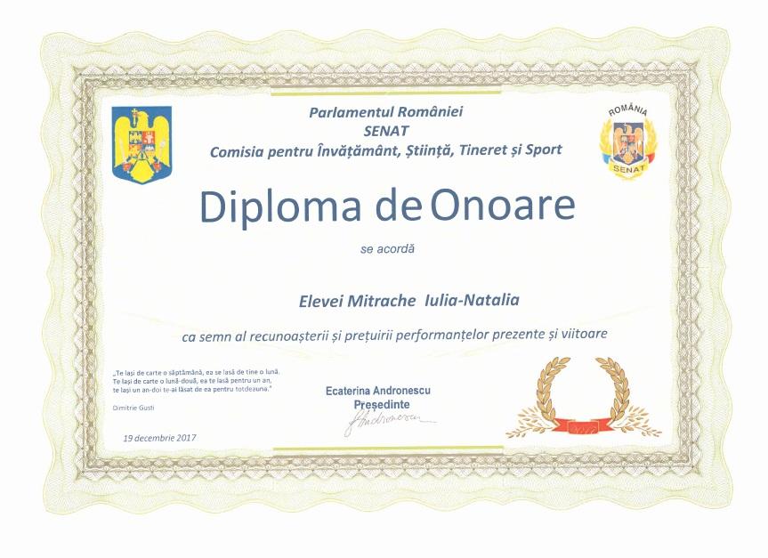 Diploma Senat Olimpiada Internationala de Lectura